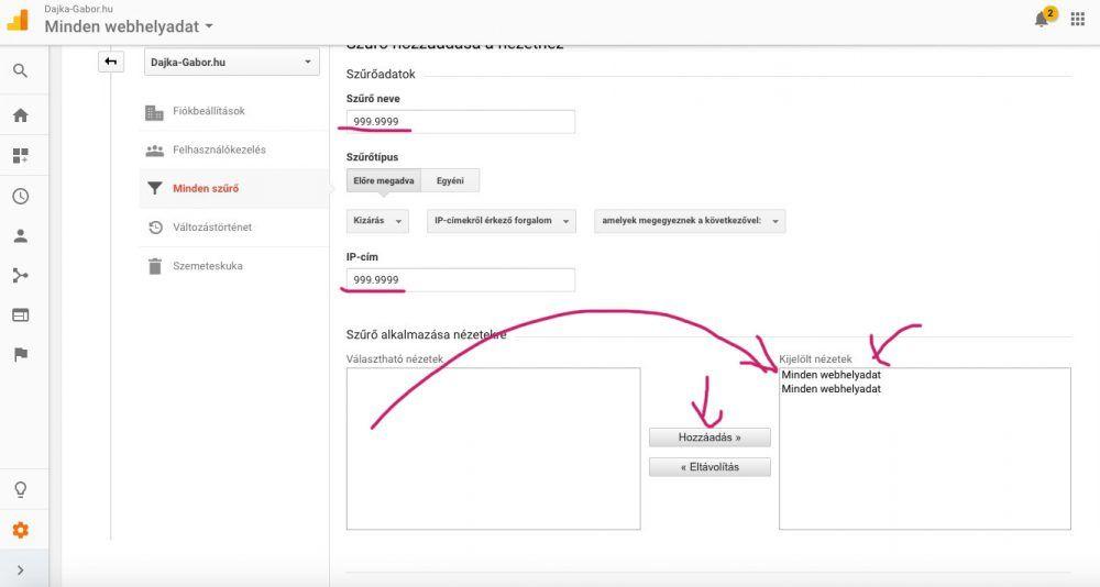 Google Analytics IP-cím kizárása