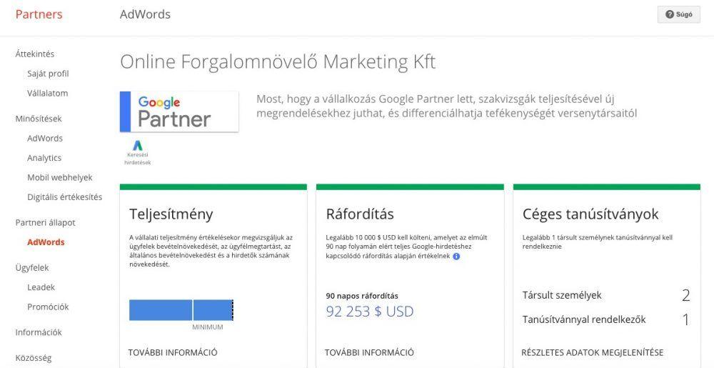 Google Partner Ráfordítás